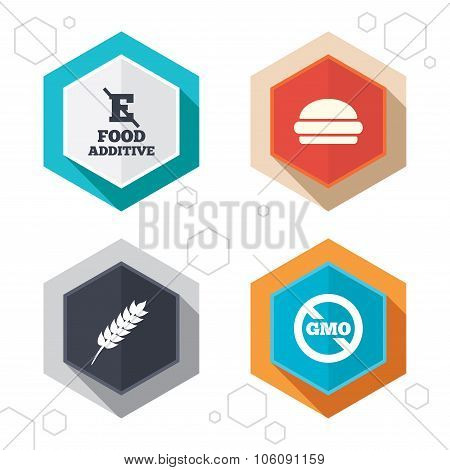Food additive icon. Hamburger fast food sign.