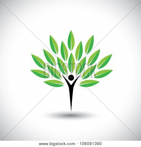 People & Nature Balance - Eco Lifestyle Concept Vector Icon