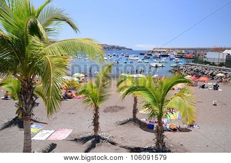 Playa de San Juan, Tenerife, Spain - July 26, 2015: Picturesque beach in Playa de San Juan, Tenerife