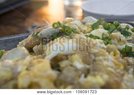 Thai Cuisine Oyster Egg Cook Restaurant Dish Concept