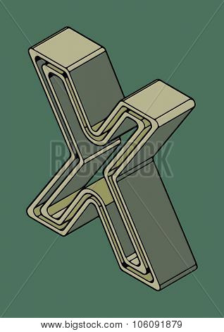 3D alphabet, vector letter X