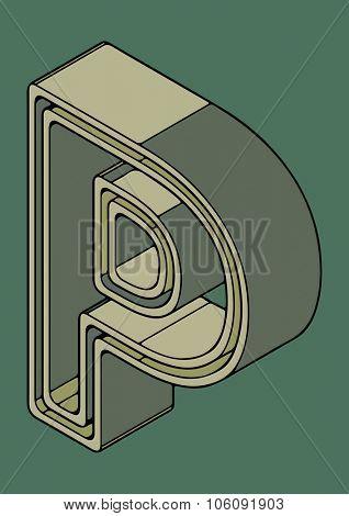 3D alphabet, vector letter P