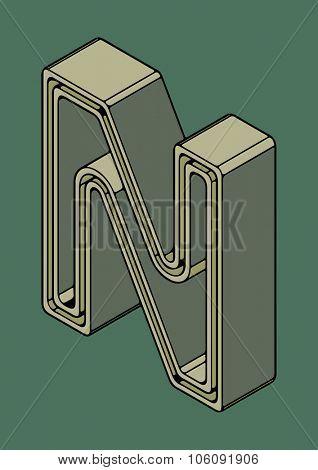 3D alphabet, vector letter N