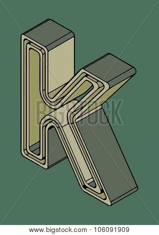 3D alphabet, vector letter K