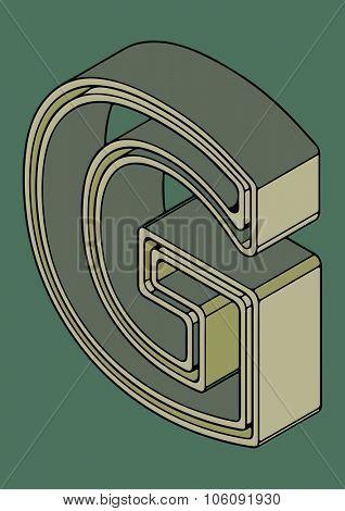3D alphabet, vector letter G