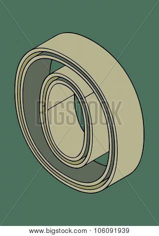 3D alphabet, vector letter O