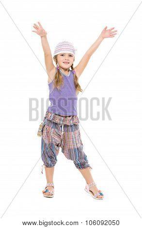 Little Girl In Bright Dress Dancing