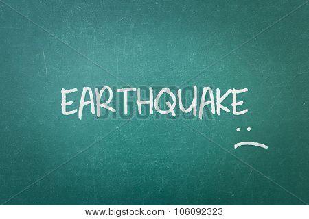 Green Blackboard Wall Texture With A Word Earthquake