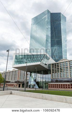 FRANKFURT AM MAIN, GERMANY - July 8, 2015: new modern building of the European Central Bank, ECB in Frankfurt