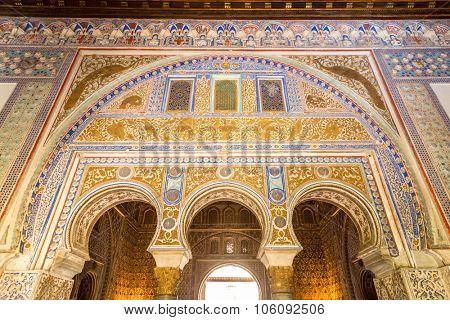 SEVILLE, SPAIN - JUNE 4, 2014 Ambassador Room Alcazar Royal Palace Seville Andalusia Spain on June 4, 2014. Originally Moorish Fort, oldest Royal Palace in Europe.