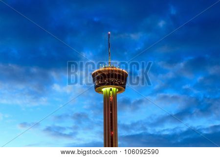 Tower Of Americas At Night In San Antonio, Texas