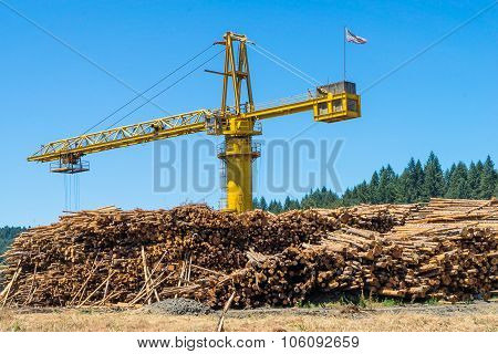 Logging Crane Hauling Logs