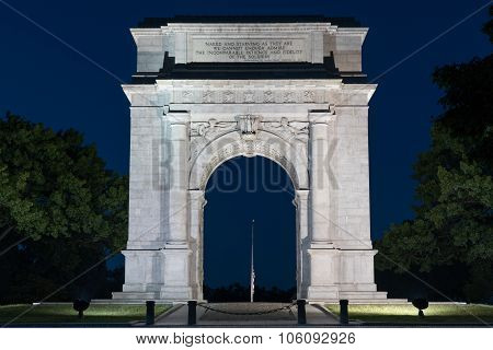 Valley Forge Arch At Night