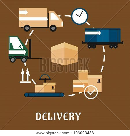 Delivery, shipping and logistics flat icons