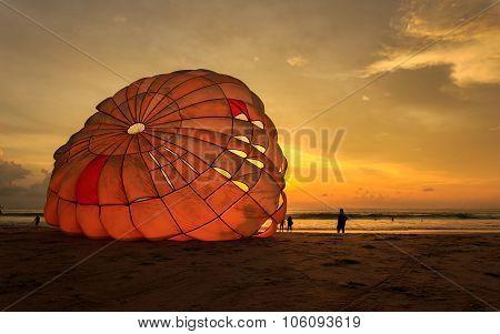 Man Is Preparing Para Sailing At The Beach In Thailand