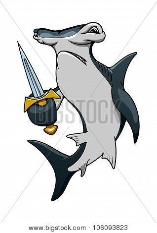 Cartoon hammerhead shark pirate with sword