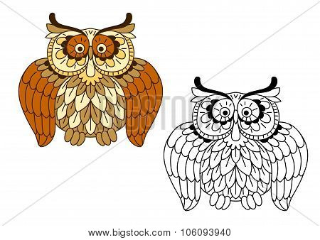 Cartoon funny brown owl bird
