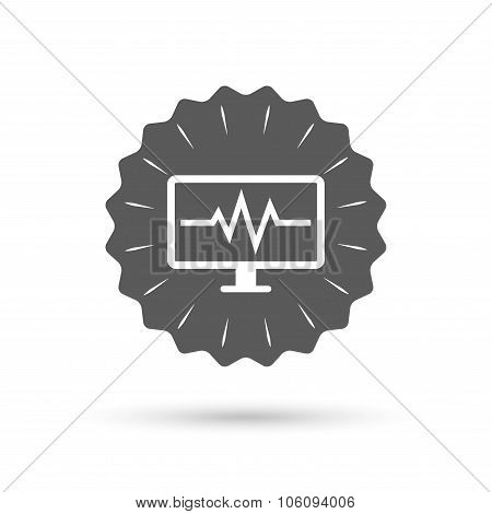 Cardiogram monitoring sign icon. Heart beats.
