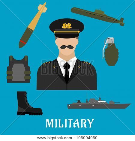 Military profession and navy flat icons