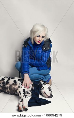 Girl  And Dalmatian Dog