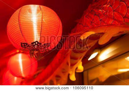 Chinese Lanterns And Dragon Tail