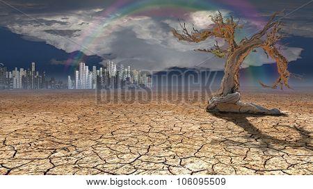 Desert City in distance
