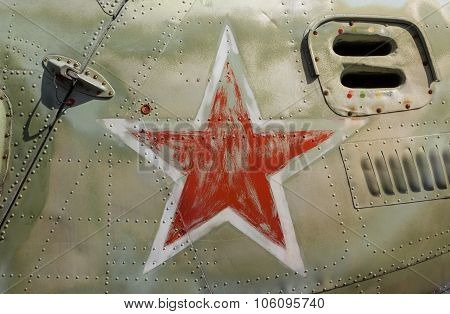Red Star On Soviet/russian Helicopter Fuselage