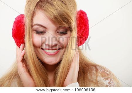Happy Fashionable Girl In Red Earmuffs