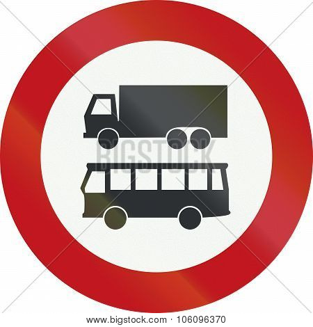 A Dutch Prohibition Sign - No Trucks Or Buses