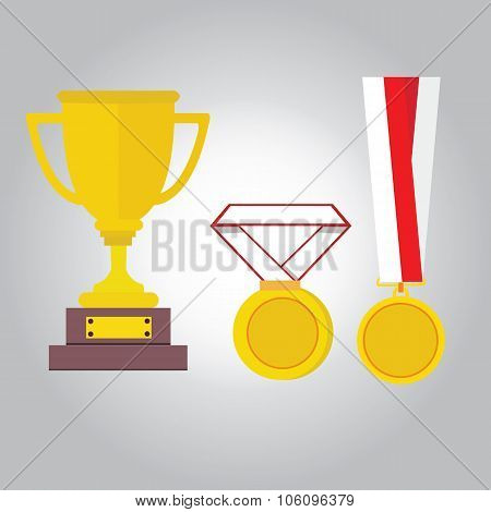 medal gold vector illustration medals ribbon trophy winner icon flat