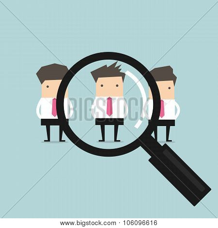 Searching for the best candidate businessman recruit concept