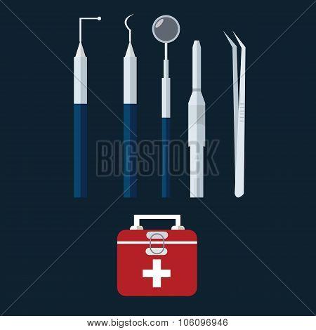 dental dentist tools object vector icon bag medical set equipment teeth health