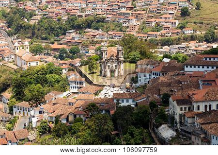Aerial view of Ouro Preto in Minas Gerais, Brazil
