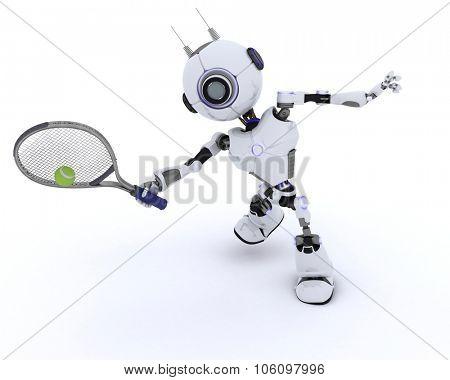 3D render of a Robot playing tennis