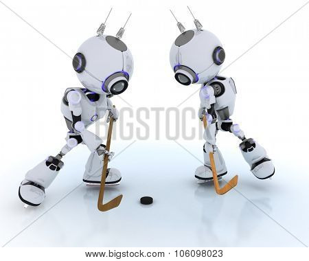 3D Render of Robots playing ice hockey