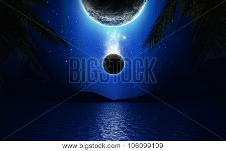 3D landscape of planets over a lake with mountains and palm trees