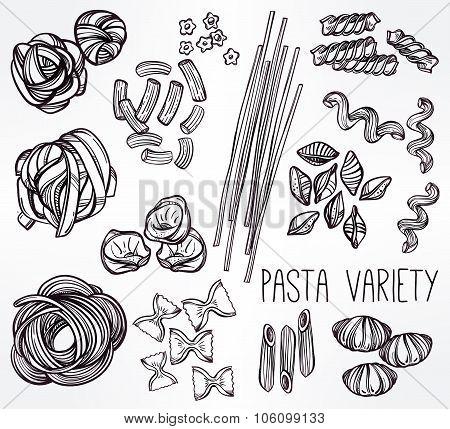 Hand drawn pasta variations set.