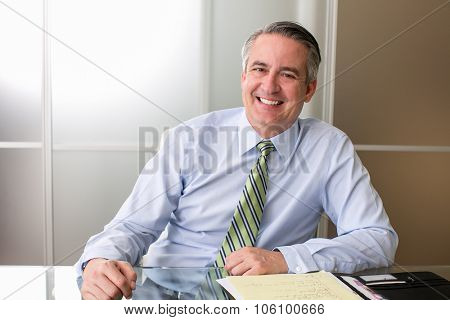 Mature happy smiling business man at his desk