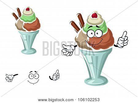 Sundae ice cream with cherry and waffle