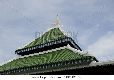 Traditional roof of Kampung Kling Mosque at Malacca, Malaysia