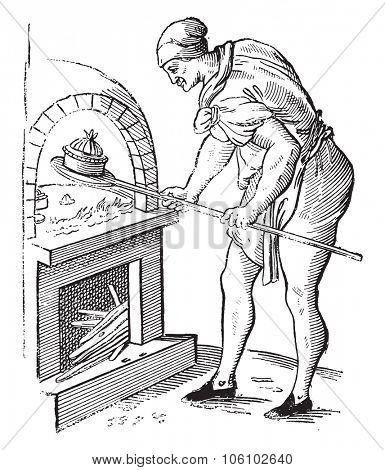 A pastry chef in 1589, vintage engraved illustration. Magasin Pittoresque 1882.