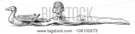 Ancient Egyptian sculpture, vintage engraved illustration. Magasin Pittoresque 1882.