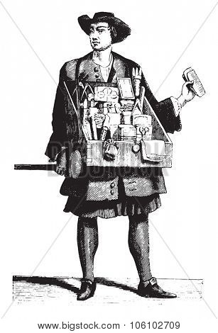 A traveling haberdasher about 1680, vintage engraved illustration. Magasin Pittoresque 1882.