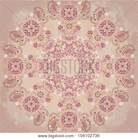 Lase Floral Design On Beige Spotty Background