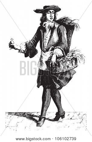 Fishmonger merchant oyster, vintage engraved illustration. Magasin Pittoresque 1882.