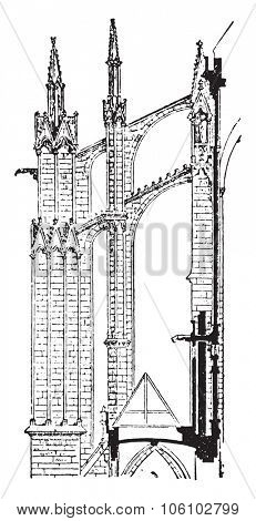 Flying buttress, vintage engraved illustration. Dictionary of words and things - Larive and Fleury - 1895.