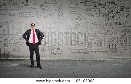 Middle aged confident businessman hands on waist