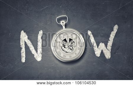 Conceptual image with word now and pocket watch instead of letter