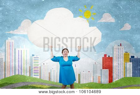 Stout woman of middle age with blank white cloud banner