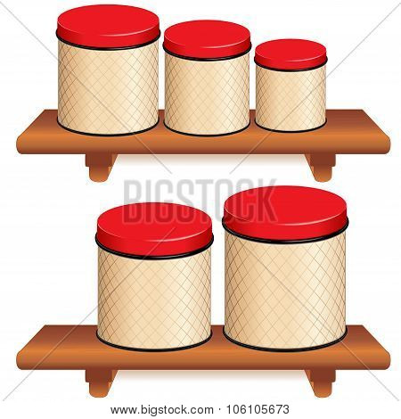 Kitchen Canister Set On Wood Shelves